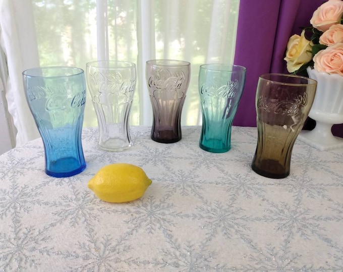 Vintage Set Of  5 Varied Color McDonald's Coke Soda Glasses By Libbey