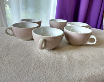 Set Of 6 Shenango China Restaurantware Beige Tan Tea Coffee Cups