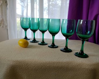 Set Of 6  Spruce Green Wine Goblets Water Goblets Stemware Juniper Green Wine Glasses Holiday Barware