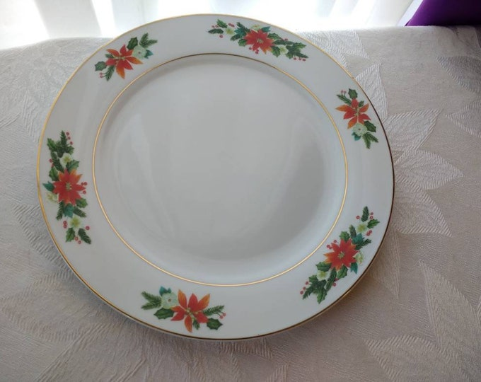 Royal Norfolk Dinner Plate Fine China Red Poinsetta Gold Trim Band Replacement Christmas Holiday Decor Tableware Retro