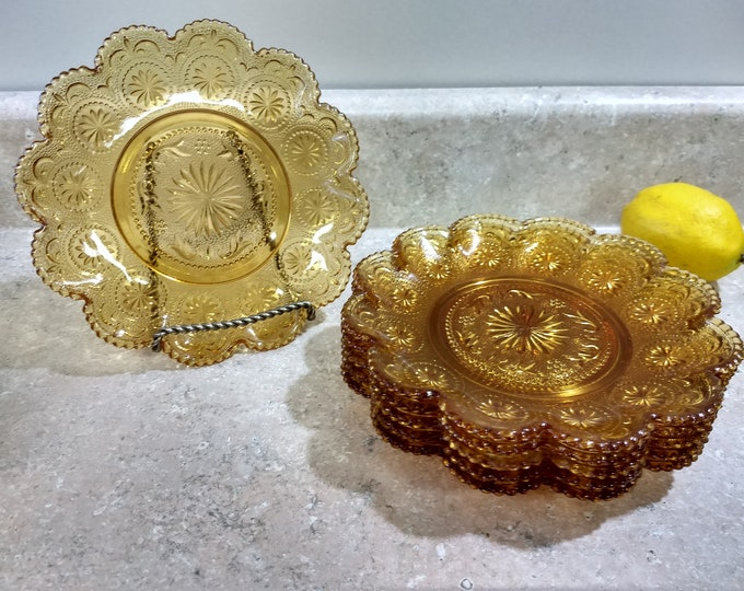 Set Of 6 Brockway American Concord Amber Bread And Butter Salad Sandwich Plates Yellow Beveled Glass Small Plates Beaded Trim Beveled Edges