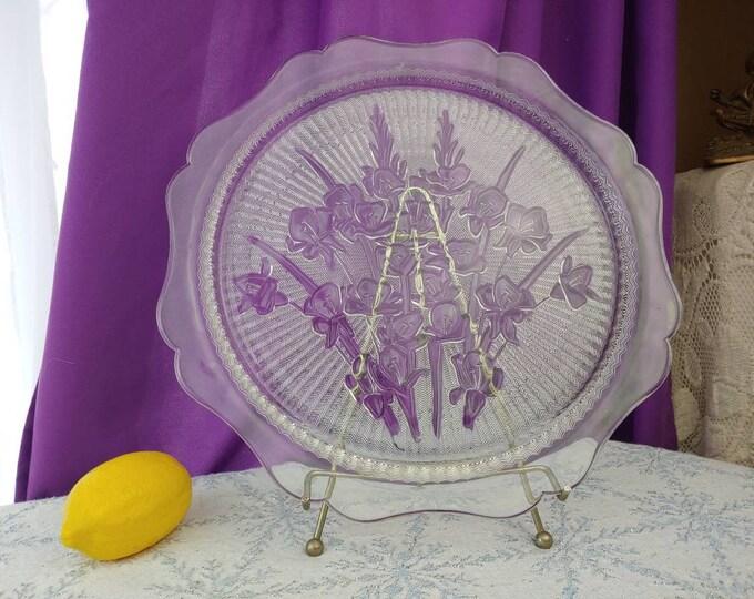 Jeannette Herringbone Iris Platter 12 Inch Clear Depression Glass Affordable Wedding 1920s Vintage Serving Decor