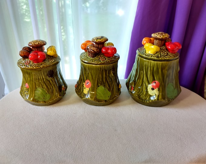 Green Ceramic Tree Stump Mushroom Canisters 2956 California Pottery Set Of 3 Varied Sizes Height 5 ~ 5 1/2 ~ 6 Inches Tall 2956 S. C. T.
