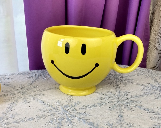 Telafora Yellow Ceramic Smiley Mugs Happy Face Large Coffee Cup Florist Planter Office Gift Decor