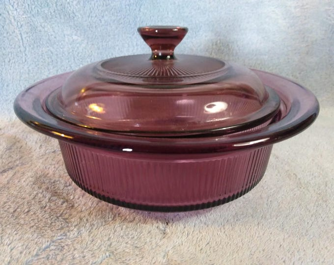 Pyrex Visions Cranberry Ribbed Casserole Dish With Lid V 30 B , V 1 C  24 Ounce 750 ml Visionware Vision Ware