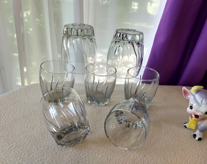 Set Of 6 Anchor Hocking Central Park Clear Old Fashioned Glasses Cocktail Whiskey Glass Vertical Swirl Pattern
