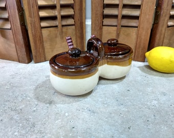 Double Pottery Stoneware Condiment Server With Matching Spoons Catsup Ketchup Mustard Mayonaise Serving Twin Dish Cream Beige Tan And Brown