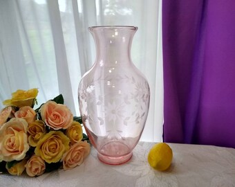 Large Classic Pink Depression Glass Vase Etched Pale Pink Etched Floral 12 Inch Tall 1930's Antique Flower Rare Grande Statement Clear