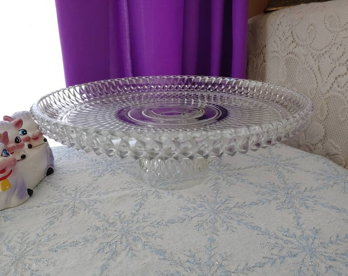 Indiana Diamond Point Cake Plate Mid Century Art Glass Serving DIY Affordable Wedding Party Birthday Cake Stand Retro Pedestal Platter