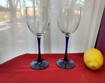 Luminarc Cobalt Stem Water Glasses Set Of 2 Blue Retro 80's Stemware Arcoroc French Blue Stemmed Drinkware Replacement