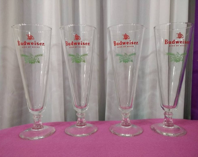 Budweiser Holiday Pilsner Glasses King Of Beer Christmas Holly & Ivy Set Of 4 Gift For Him