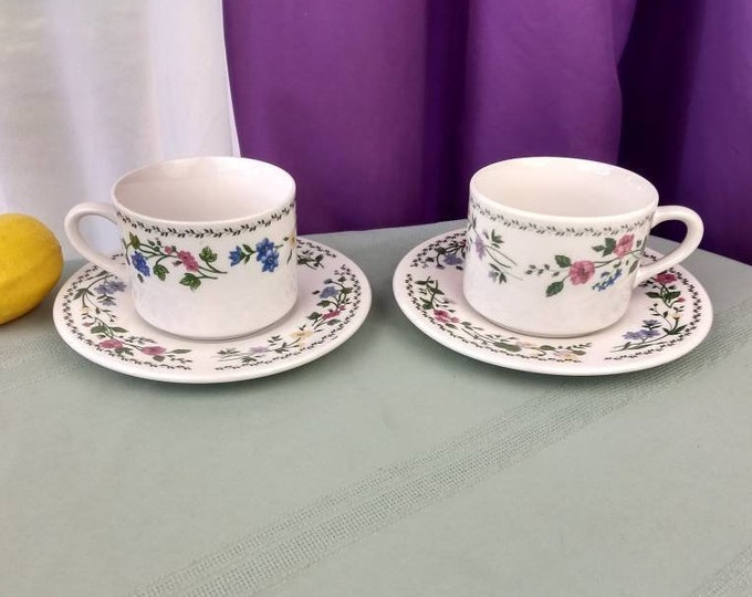 Farberware Stoneware ENGLISH GARDEN Flowers Cups And Saucers Set Of 2 # 225 Spring Floral Pattern Replacement China Dinnerware Oven Safe