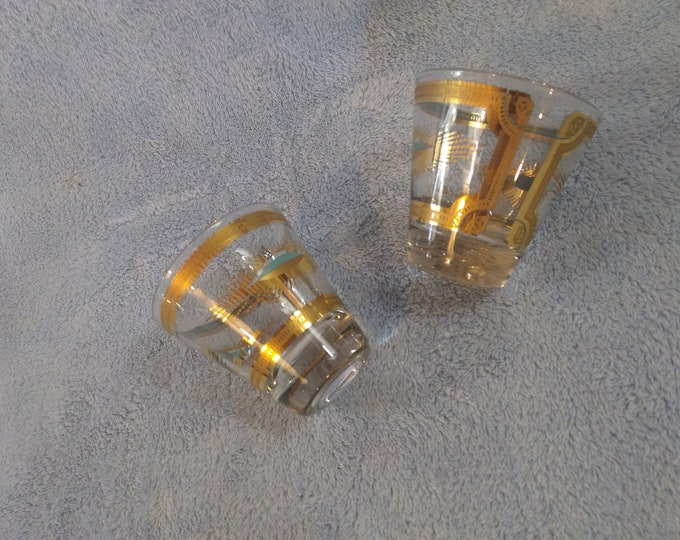 Fred Press Aqua Blue And Gold Shot Glasses Mid Century Modern Set Of 2