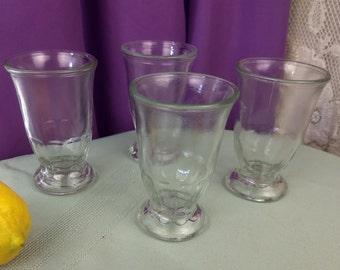 Vintage Shrimp Cocktail Glasses Retro 70's Brockway Orange Juice Glasses Clear Sturdy Footed OJ Glasses Retro 60's Kitchen Sturdy Drinkware