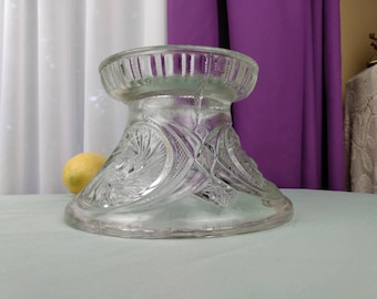 McKee Aztec Punch Bowl Base Only American Brilliant Pressed Glass  Possibly Tiffin Jeannette L E Smith ?