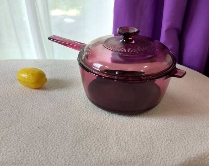 Corning Cranberry Teflon Coated Visions 2 1/2 Liter Pan V 2.5 B Ribbed Lid  V 2.5 C Pyrex Glass