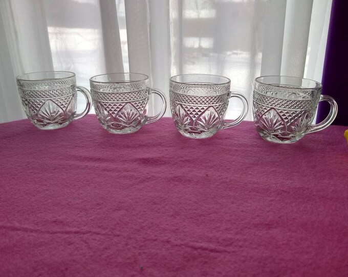 Arcoroc Cristal D'Arques Durand Designer Antique Pattern Coffee Cups Diamond Arches Clear Luminarc Tea Cups