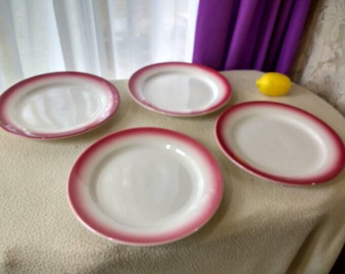 Set Of Homer Laughlin Burgandy Cranberry Red Rim 9 Inch Plates Stoneware Restaurant Dinnerware Circa 1940's Mad Men Maroon Edge Mid Century