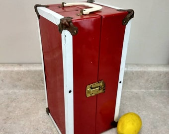 Mid Century Doll Trunk Barbie Carry Case Mid Century Red And White Metal Doll Closet Tote Box Durable Case