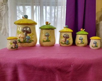 Mushroom Canister Set (4) With Salt & Pepper Shaker RARE Pastel Colors! Blue And Lavender Mushrooms Spring Time Theme