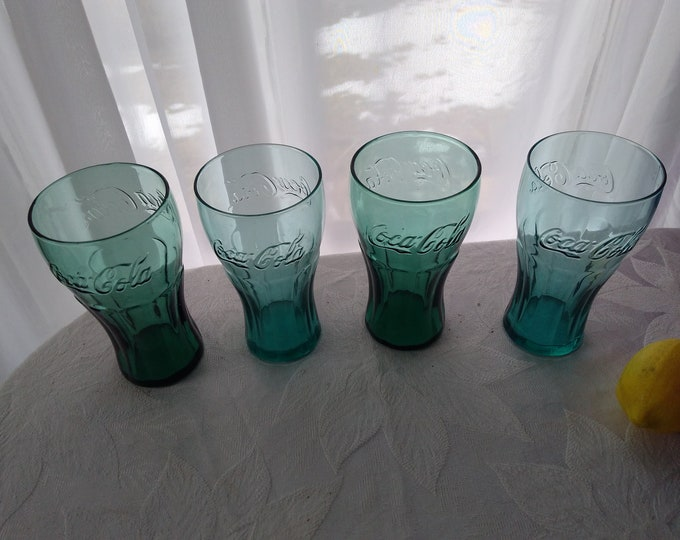 Set Of 4 Libbey Blue Green and Green McDonald's Coke Soda Glasses