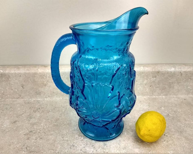 Colonial Blue Spring Rainflower Pitcher Anchor Hocking Retro 70's Kitchen Vintage Glass Water Pitcher Laser Blue