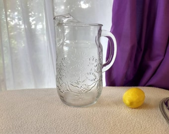 Anchor Hocking Spring Flower Retro Clear Glass Water Pitcher Clear Daisy