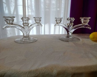 Pair of Matching Clear Glass Candelabras Fern Pattern On Base Beautiful Light Swirl To Point Branch Pattern On Branches!