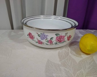 Enamel Nesting Bowl Set ~ 3  ~ Lincoware Pink Lavendar Rose Flower Pattern Tin Pans With Enamel Coating Country Cottage