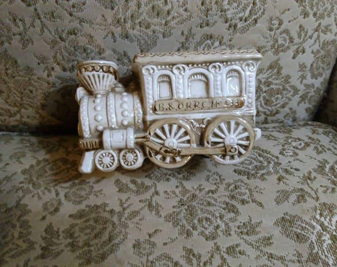 Napco Ware Vintage Brown On Cream White Glaze Train Planter C 8271 Gift For Him