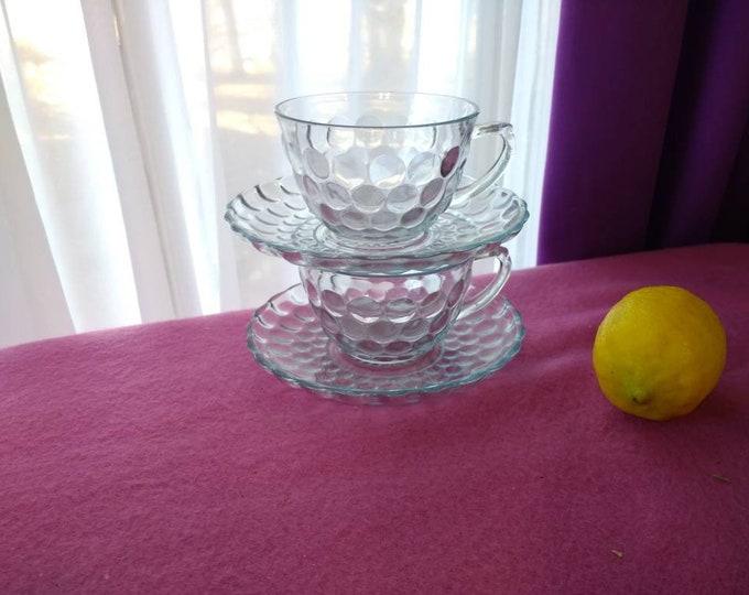 Ice blue bubble glass tea cups