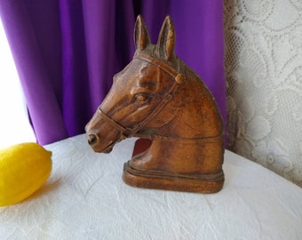 Mid Century Syroco Brown Horse Book End