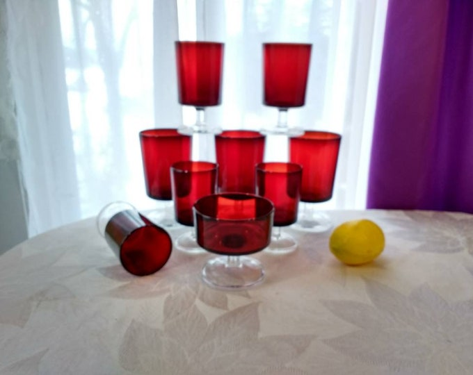 Arcoroc Ruby Red Stemware Varied Sizes Holiday Candle Votive Set Footed Wine Water Dessert Cocktail 9 Pieces