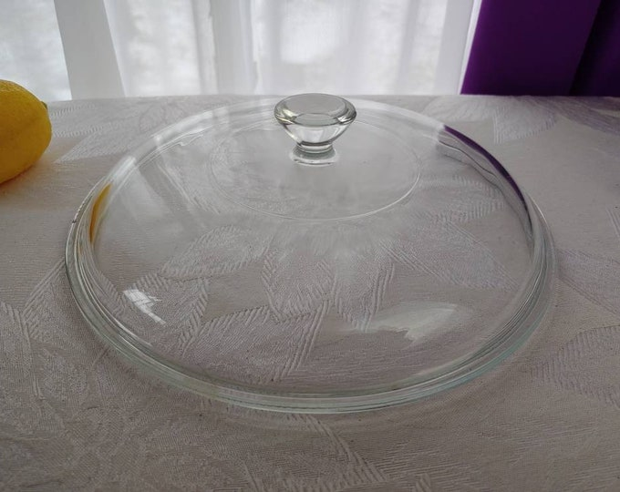 Pyrex 624-C Clear Casserole Lid Round 8 Inch Replacement Knobbed Glass Cover 624c 2 Quart Vintage Mid Century Visions Visionware 2 Qt