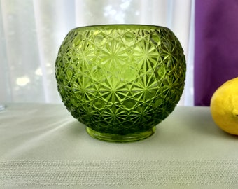 Fenton Olive Green Daisy And Button Rose Bowl Candle Votive Art Glass Collectible Vintage Decorative Glass Affordable Gift Art Glass