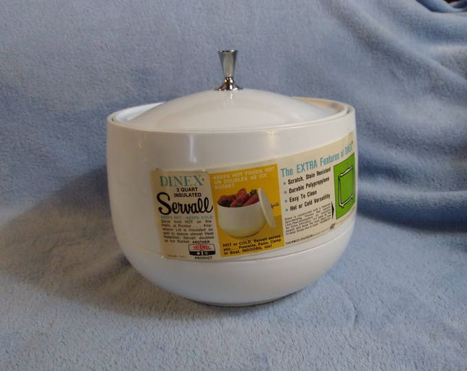MCM Retro Dinex Servall Plastic Insulated Serving 3 Qt Bowl Container Insulated Cover Thermos King Seeley Brand 1103 L