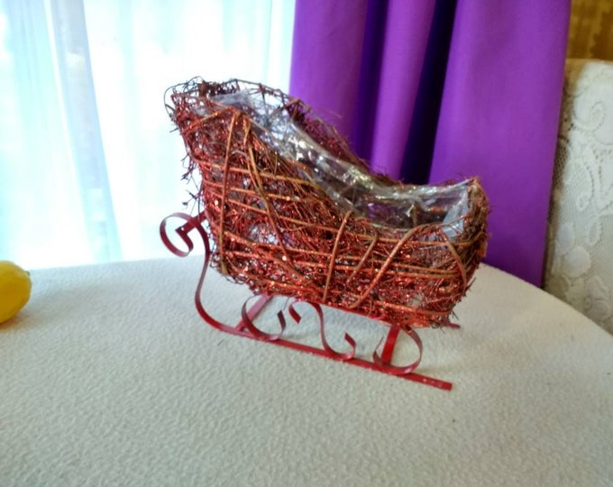 Holiday Hand Crafted Red Sparkling Woven Twig Sleigh Centerpiece Christmas Table Sled Planter Plastic Lining