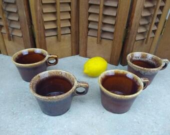 Hull Brown Drip Glaze Mugs Chrestine Pattern Set of 4