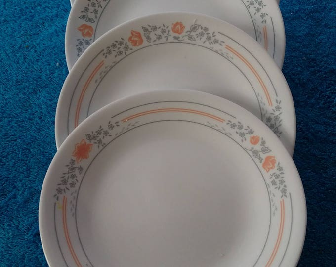 Set of 4 Corelle By Corning Apricot Grove Bread And Butter  Plates 7 1/4 Inch Salad Peach Flowers Gray Pin Strip Ringed Made In USA