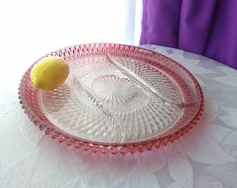 Indiana Cranberry Red Flash Diamond Point Divided Dish Party Serving Tray EAPG Pickle Snack Relish Dish