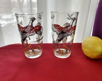 Vintage Hazel Atlas Pheasant Hunting Glasses Set Of 2 Replacment Mid Century Bar Decor Red Yellow Green Black Drinkware Collectible