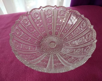 Queen Anne's Lace Centerpiece Bowl Hand Cut Bohemian Lead Crystal  9 Inch Bowl