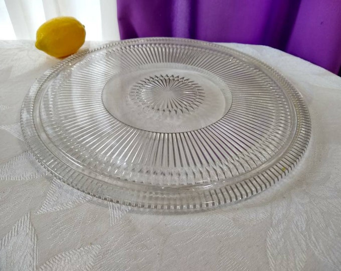 Depression Glass 3 Footed Cake Plate  Large 12 Inch Rare Fits 11 Inch Cake Cover RARE Kitsch Kitchen Cake Cover Plate