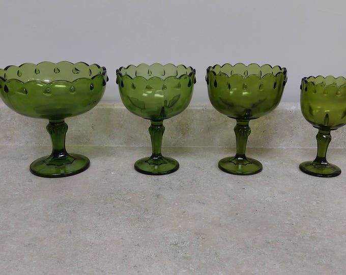Collection Of Green Indiana Teardrop Goblet Footed Compote Planter ~ Set Of 4