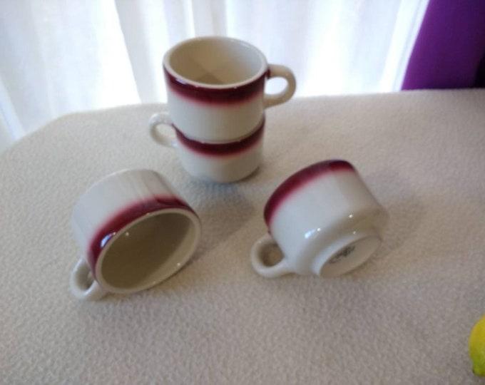 Homer Laughlin Burgundy White Best China Restaurant Ware Coffee Cups Drinkware Hotel Ware Mid Century Kitsch Heavy Stoneware Dinnerware