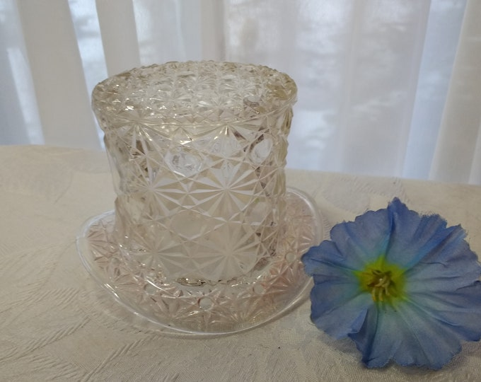 Daisy And Button Top Hat Fenton American Pressed Glass Clear Mid Century Collectible Celery Candy Dish Pencil Toothpick Holder Retro 1960's