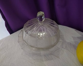 Mid Century Jeannette Dewdrop 6 Inch Covered Butter Dish RARE Round Collectible Clear Glass Mint!