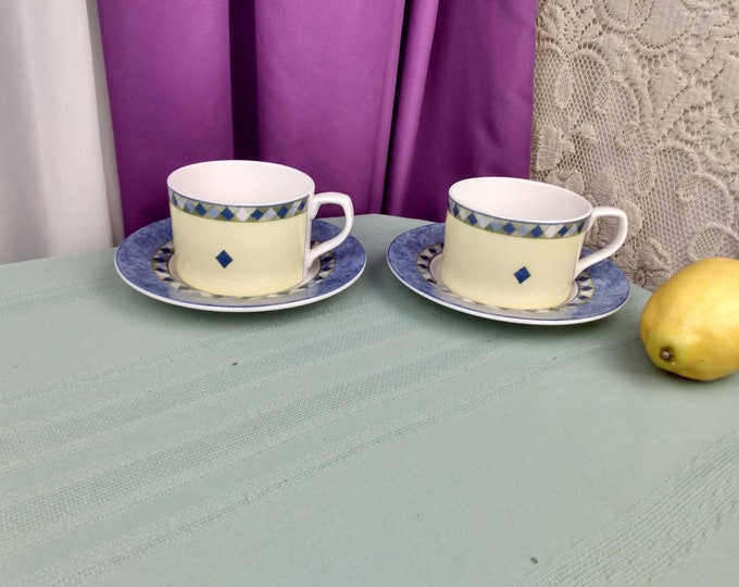 Royal Dalton Carmina Cup With Saucer Set Of 2 Fine China Large Flat Coffee Replacement Coffee Tea Cups Affordable Gift Blue And Yellow China