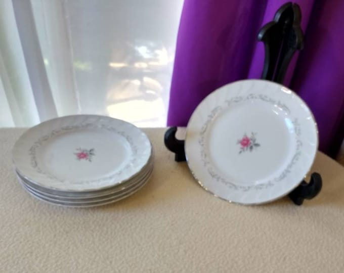 Set Of 5 Royal Swirl Fine China Japan Salad Plates Pink Flower Center On White China Pink Floral Decor On Rim Dessert Plates