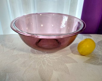 Corning Pyrex Cranberry Clear Glass Visions Mixing Bowl  # 325 2 1/2 Quart 2.5 Liter Bowl Vision Ware